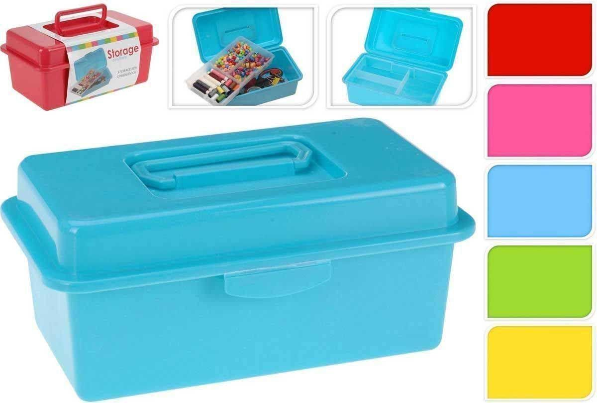 Plastic Diy Arts Crafts Tool Storage Box With Handle And