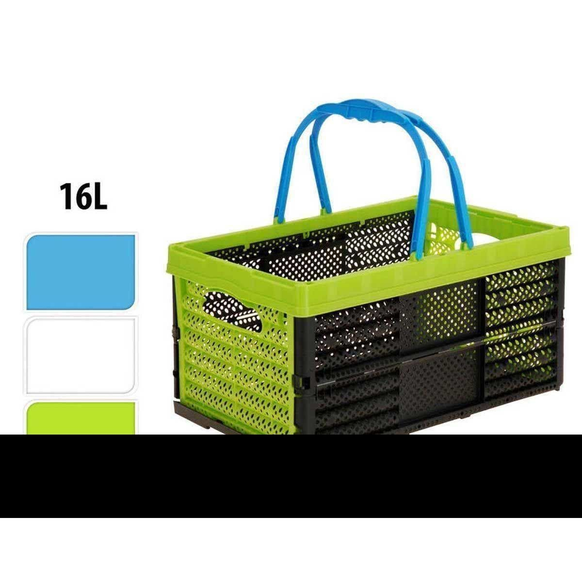 collapsible folding 16l plastic storage shopping basket box