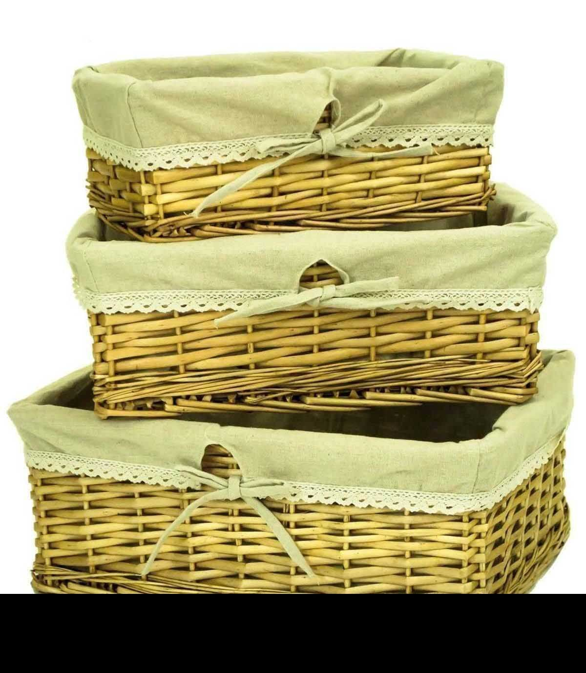 Willow Wicker Storage Basket With Liner For Home: Set Of 3 Shallow Honey Wicker Willow Storage Basket & Lace