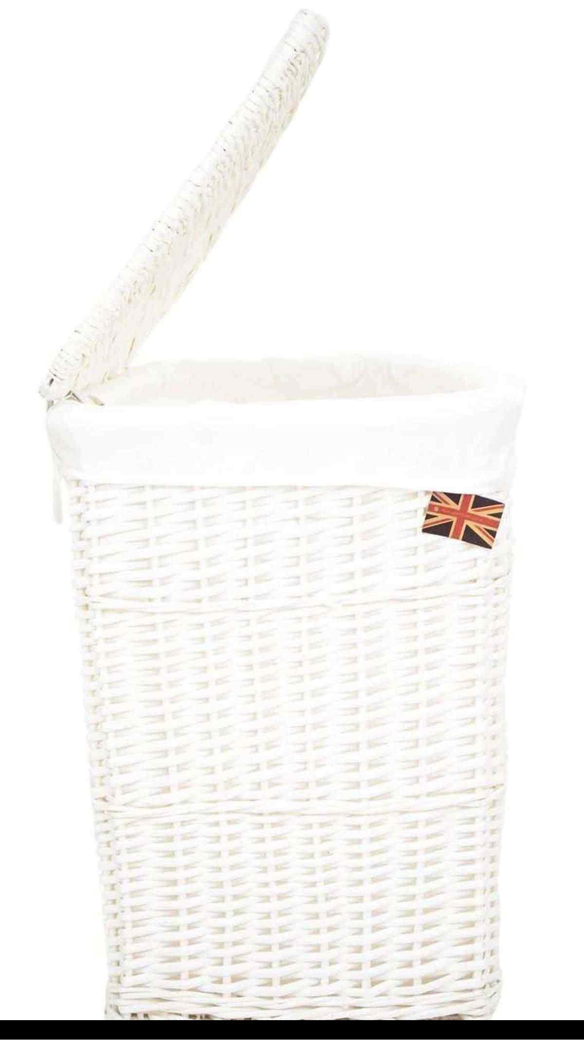 White Lidded Wicker Corner Linen Laundry Bin Storage