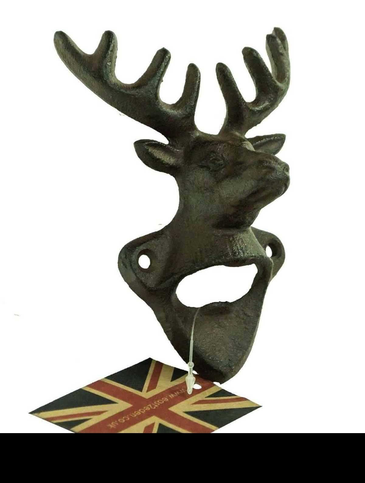 Rustic Vintage Cast Iron Stag Head Design Wall Mounted