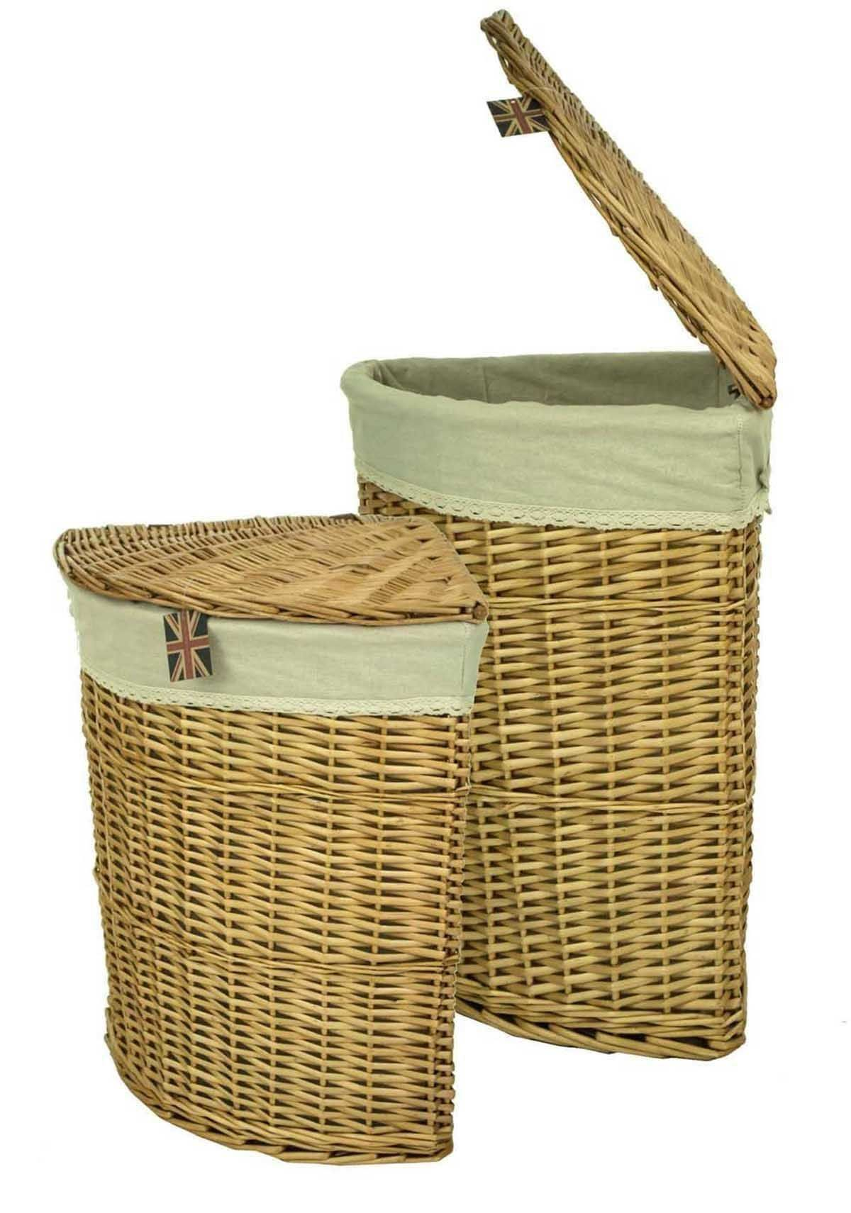 East2eden Honey Lidded Wicker Corner Linen Laundry Bin Storage Basket With  Canvas U0026 Lace Liner