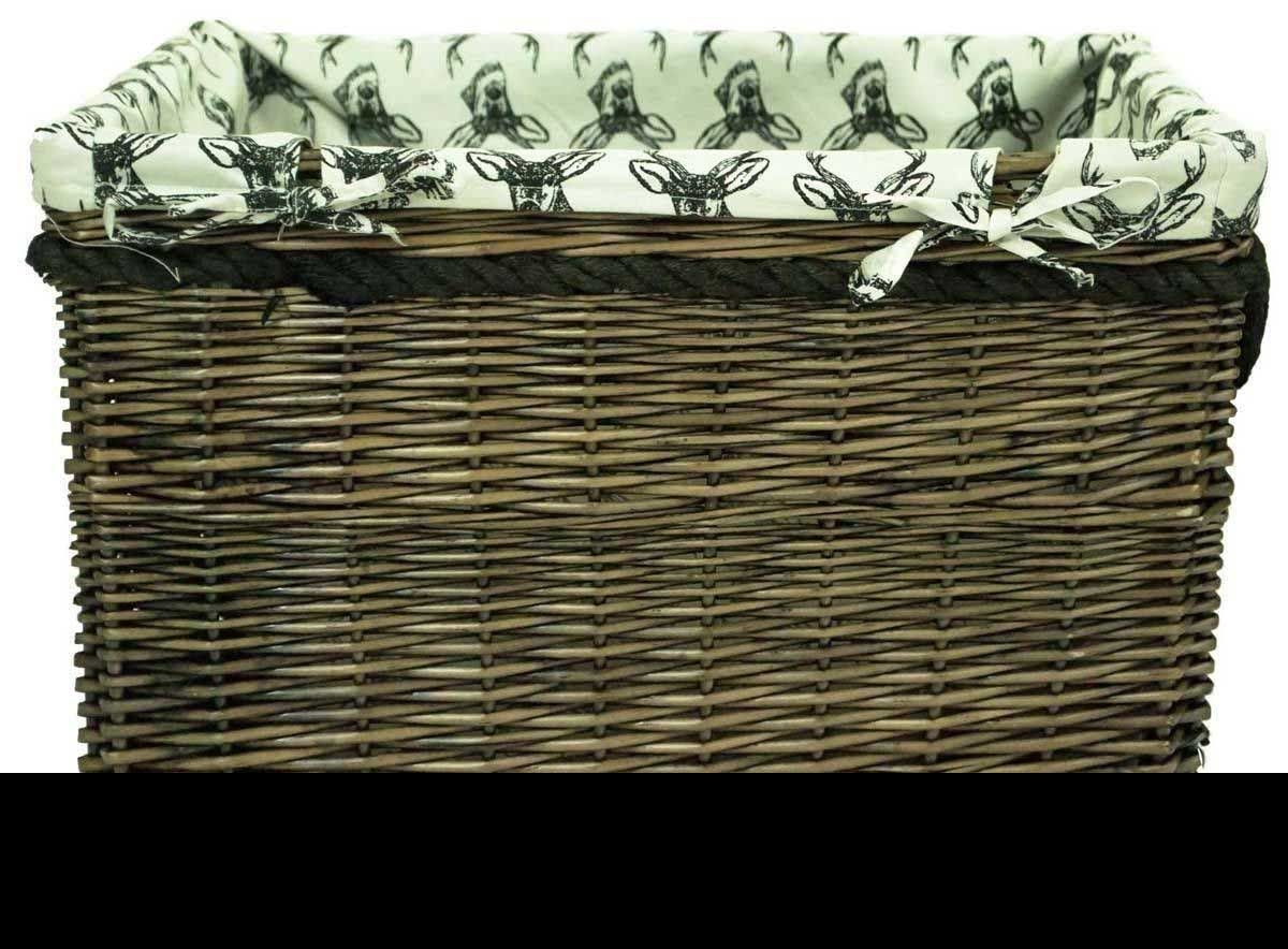 Brown wicker willow storage log hamper basket with stag liner in choice of sizes - Wicker hamper with liner ...