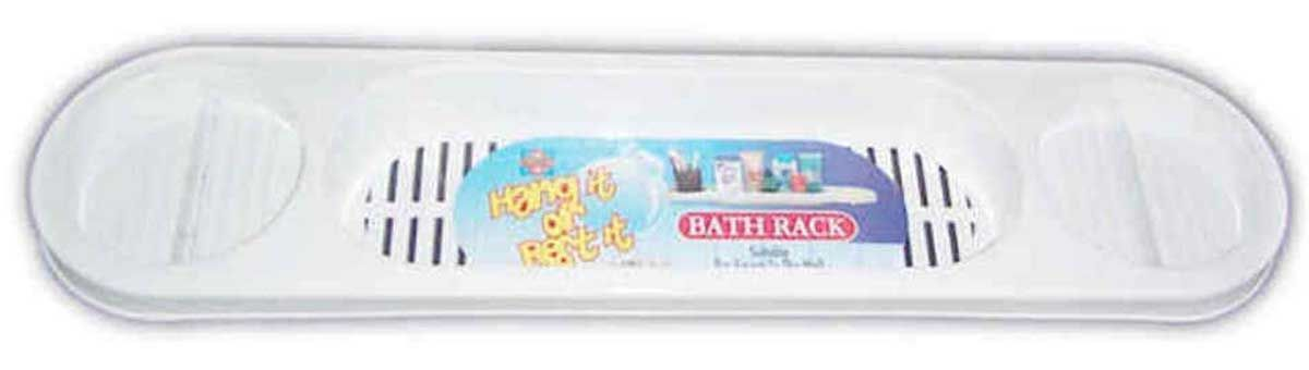 Pure White Plastic Bath Shower Rack with 3 Compartments