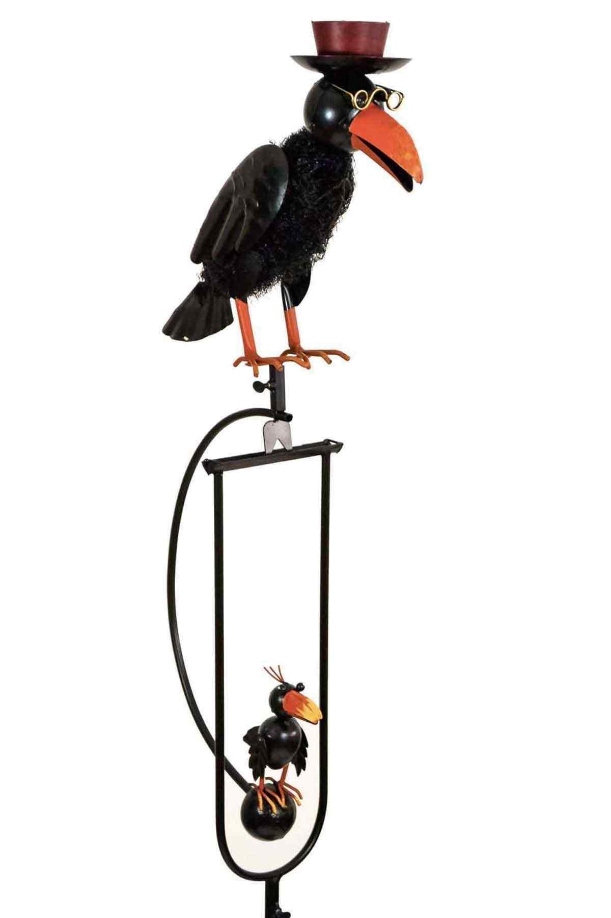 Rocking Balancing Black Dad Amp Baby Crow Metal Garden Wind