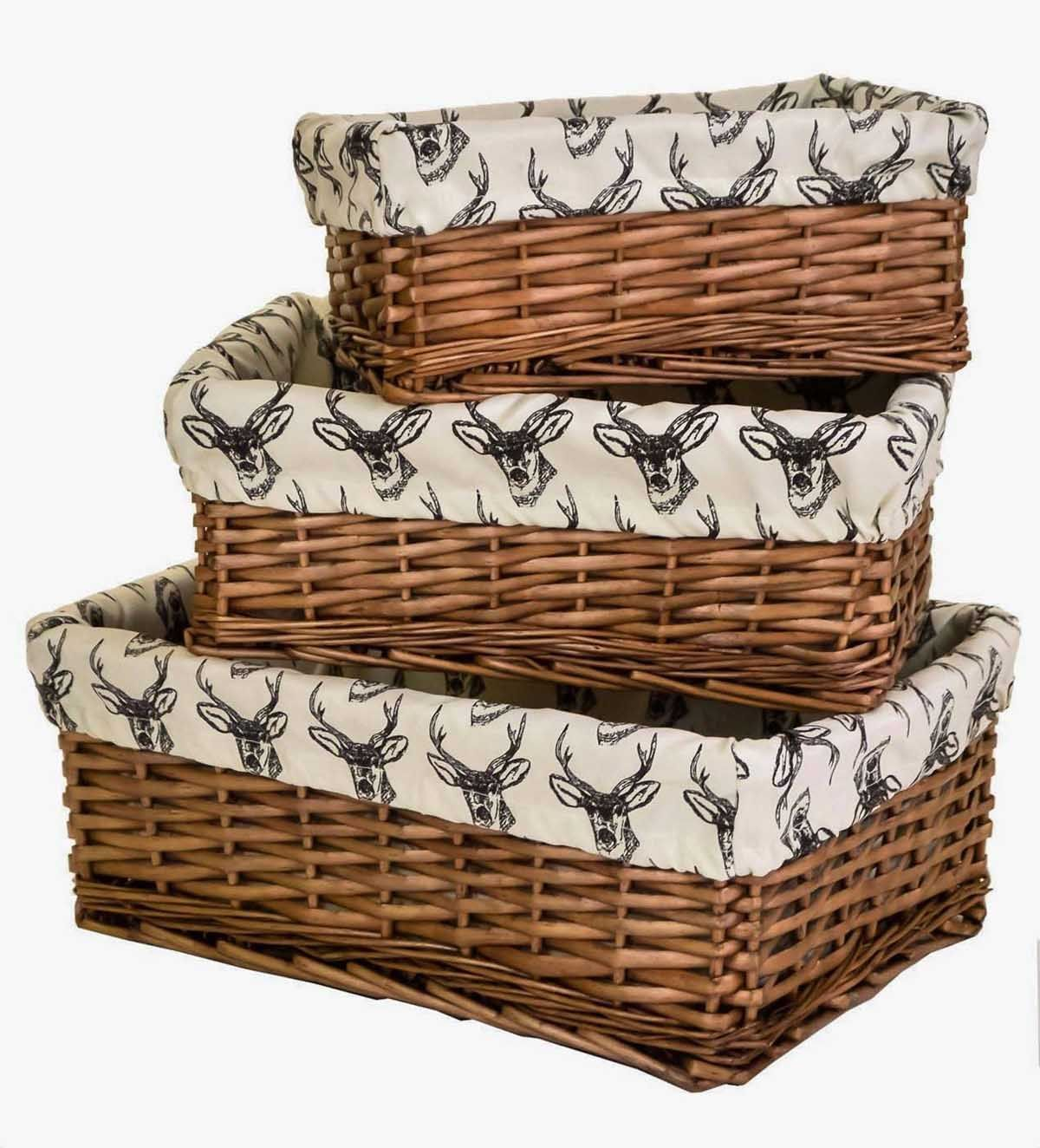 Willow Wicker Storage Basket With Liner For Home: Antique Brown Wicker Willow Shallow Storage Basket W/ Line