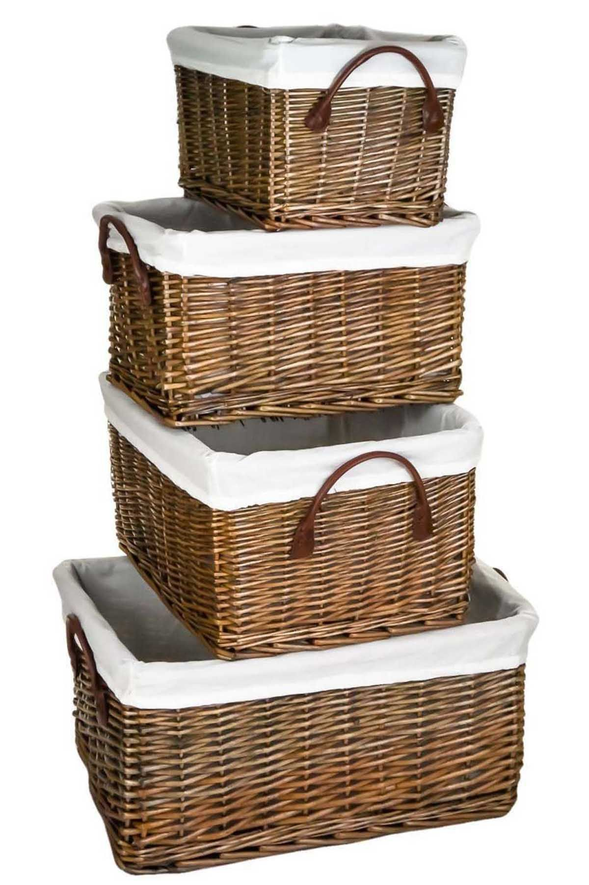Antique Brown Giant Rectangular Wicker Willow Hamper