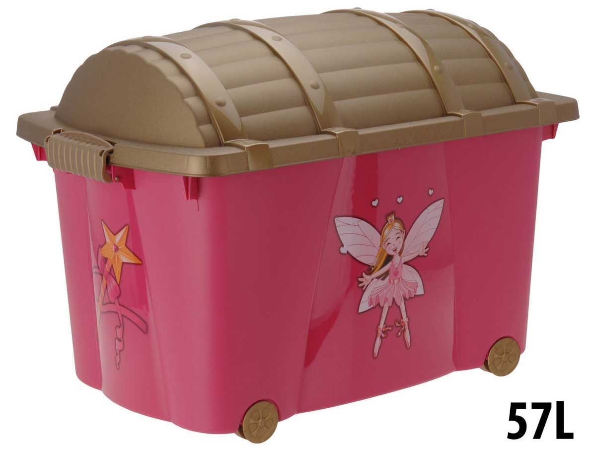 Childrens Jumbo Bedroom Room Tidy Toy Storage Chest Box Trunk: Princess Design 57L Plastic Kids Toy Storage Room Tidy Box