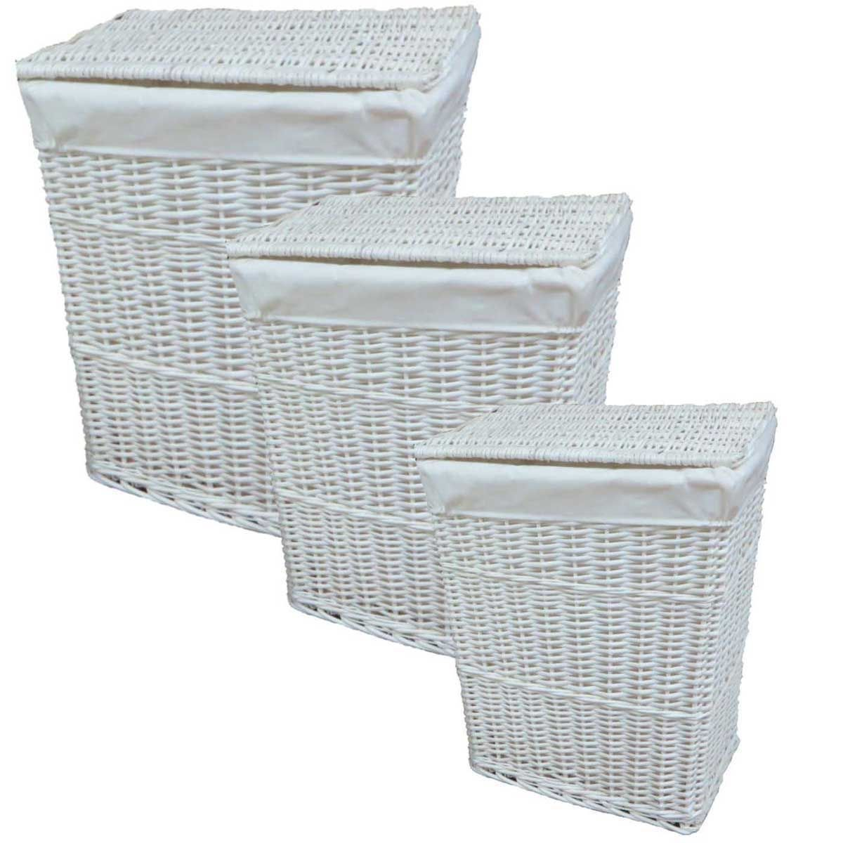 Willow Wicker Storage Basket With Liner For Home: Lidded White Wicker Willow Linen Laundry Bin Storage