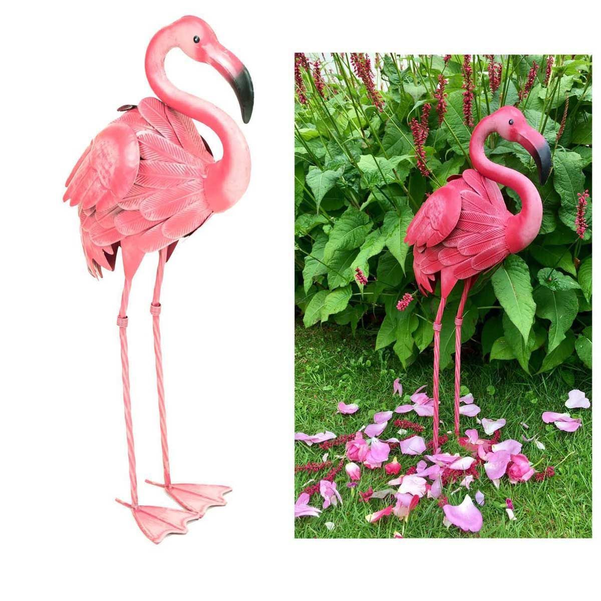 Pink Flamingo Metal Indoor Outdoor Pond Garden Ornament