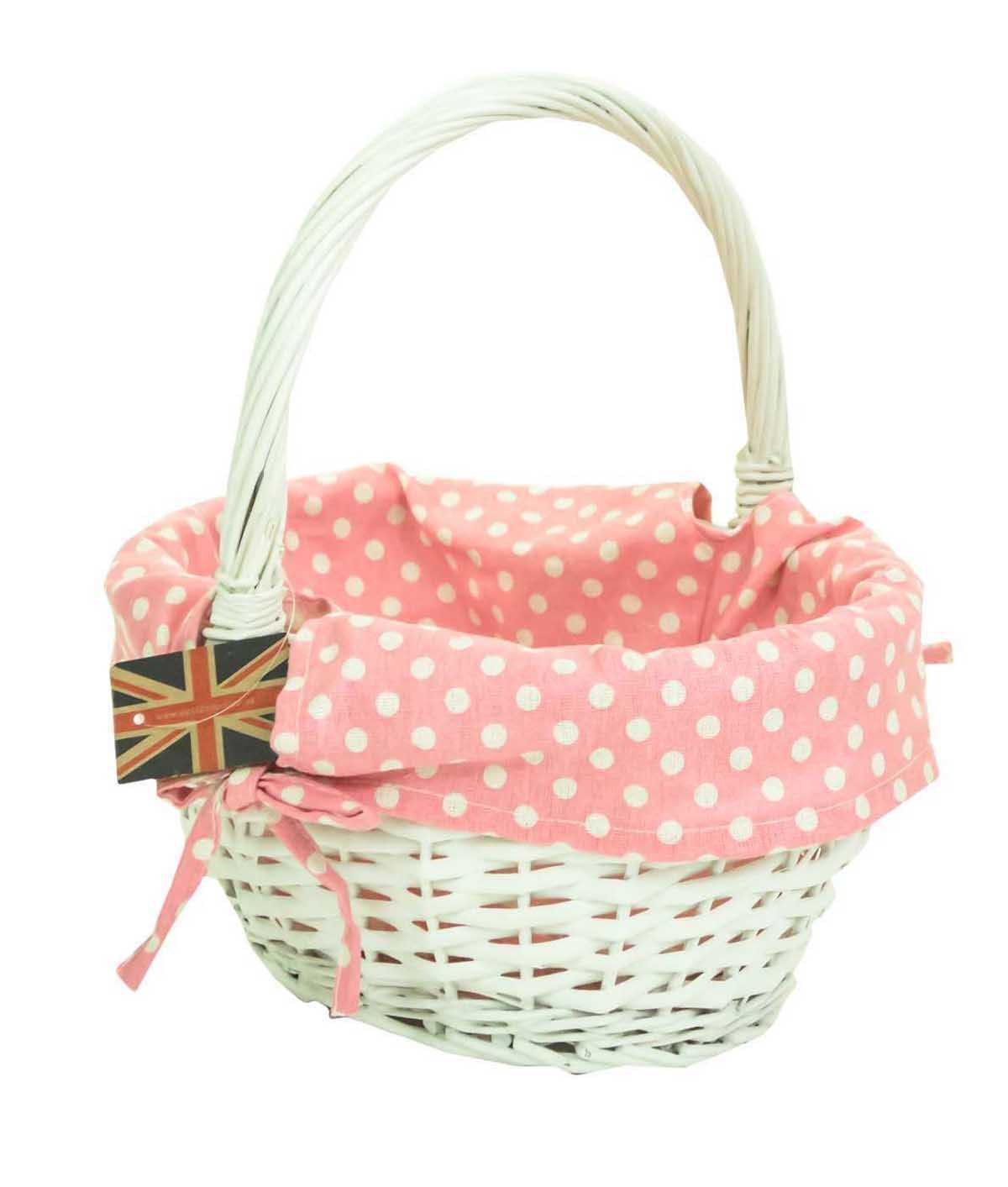 Traditional Small Wicker Basket With Liner&handle : White willow wicker traditional ping easter basket