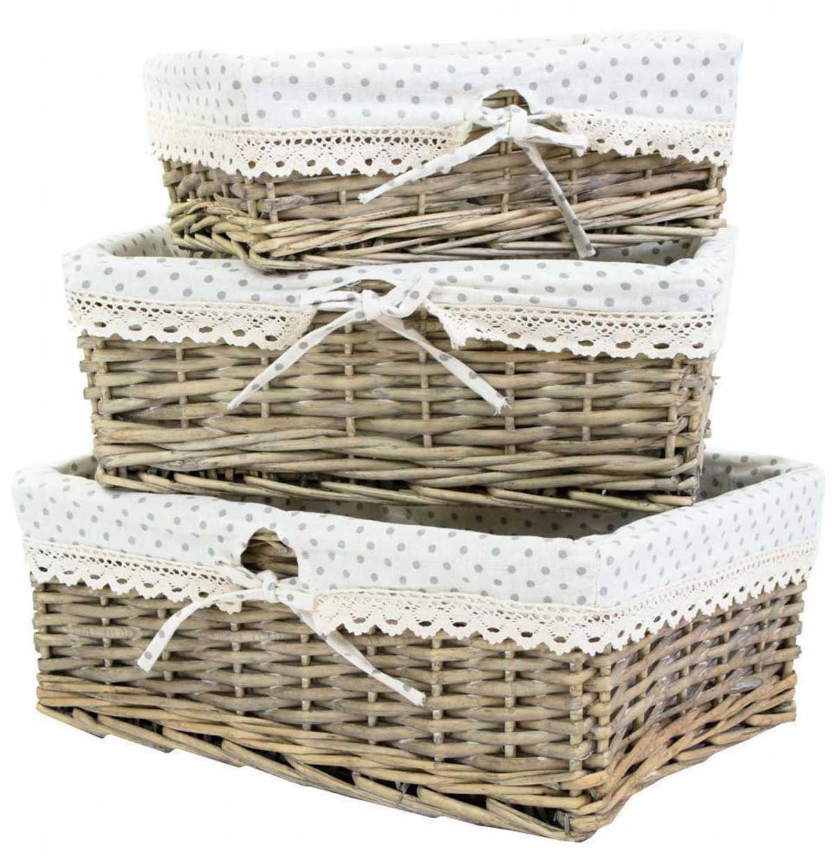 Willow Wicker Storage Basket With Liner For Home: Set Of 3 Wicker Willow Shallow Storage Shop Display Basket