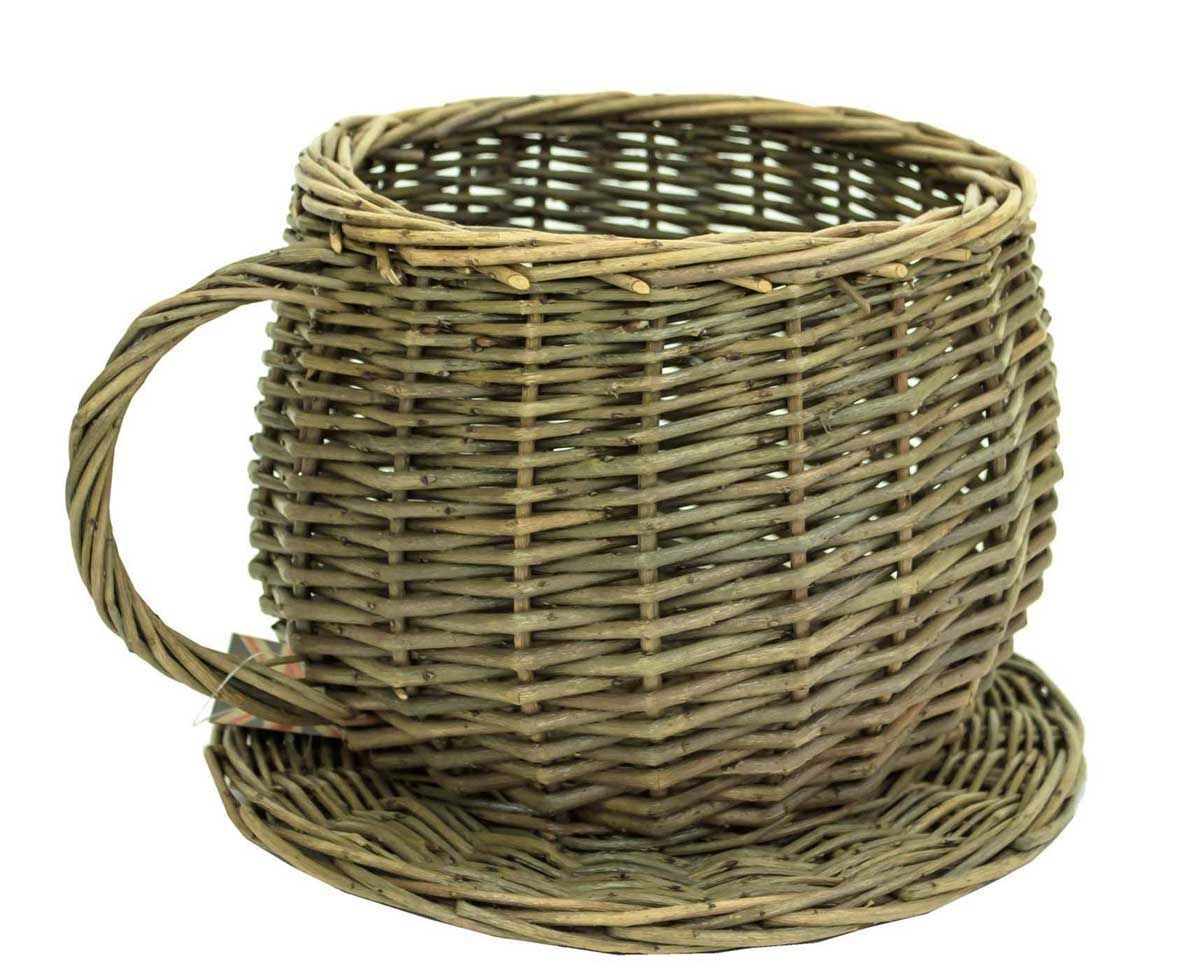 Natural Brown Wicker Cup & Saucer Flower Herb Plant Pot Planter