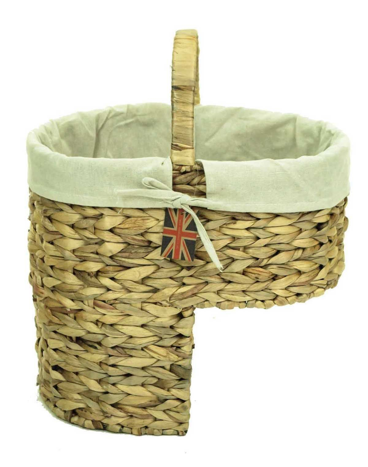 Delicieux Natural Woven Water Hyacinth Wicker Stair Step Storage Basket With Carry  Handle