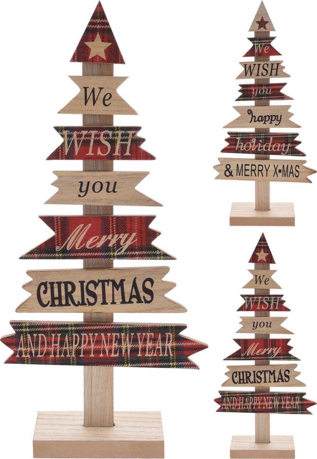 wooden xmas tree shape happy holiday merry christmas sign decoration