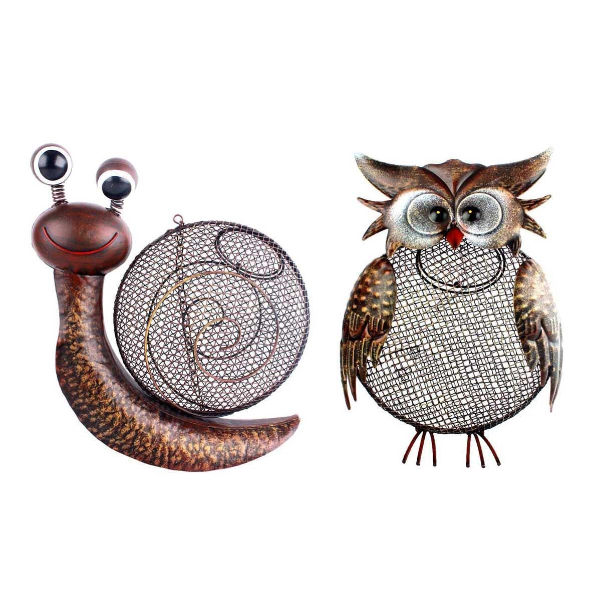 Metal Mesh Owl Or Snail Hanging Wild Bird Birds Ball