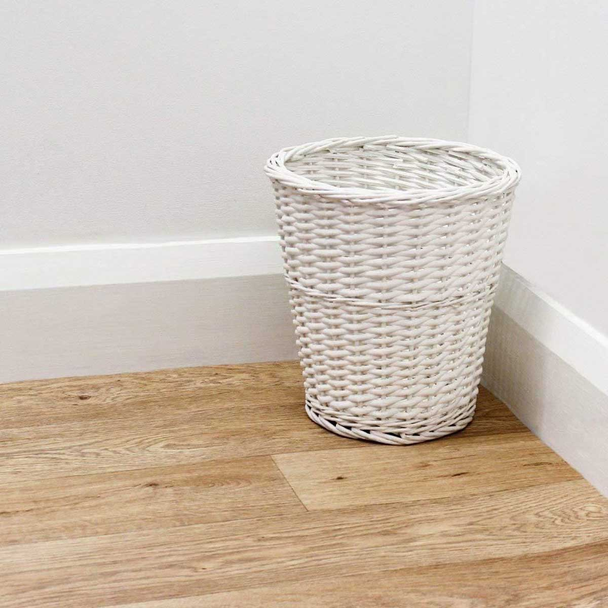 Circular Willow Wicker Waste Paper Basket Bin
