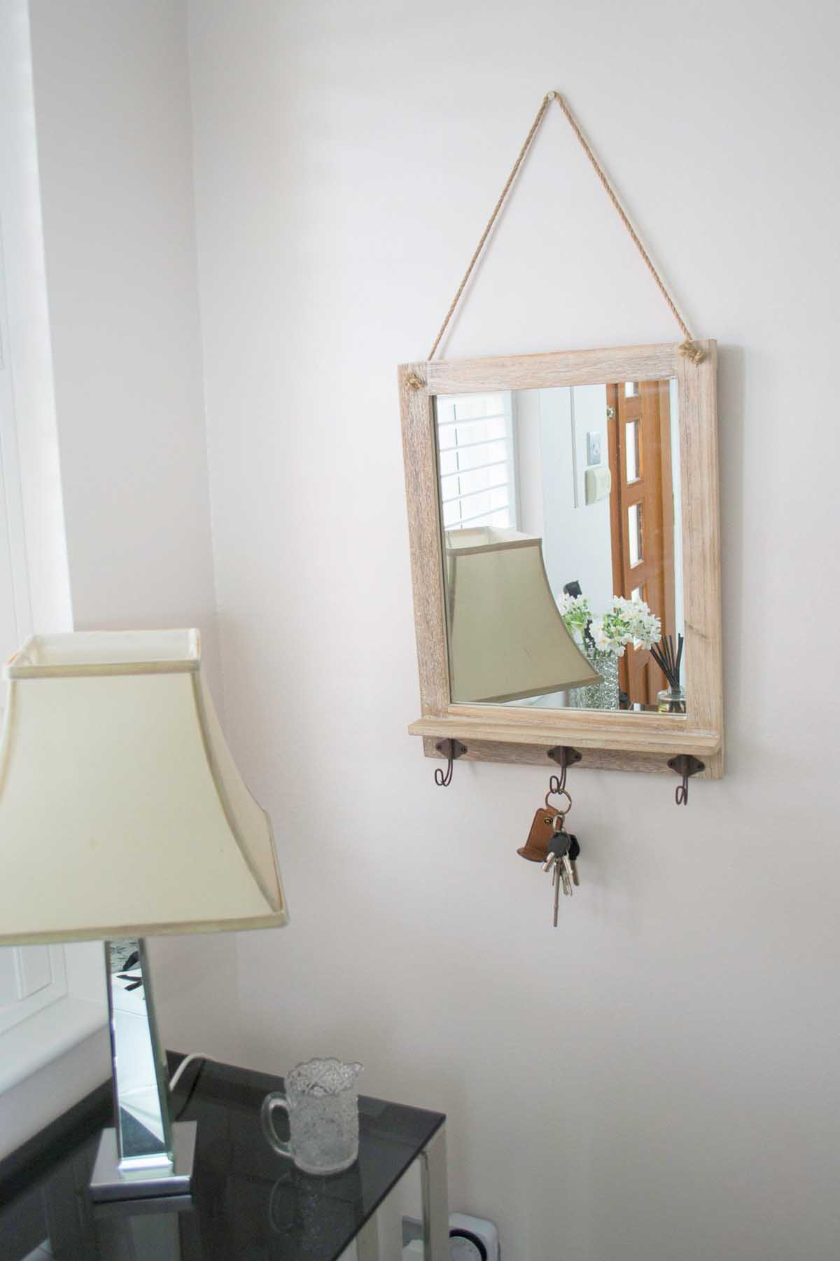 Rustic Whitewash Wooden Wall Mounted Hanging Mirror With 3 ...